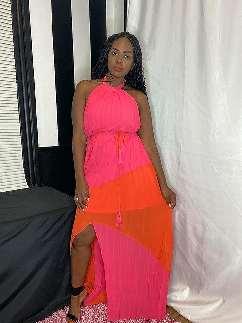 Two Tone Halter Maxi Dress