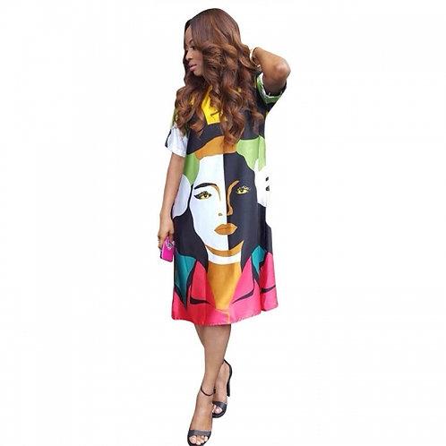 Printed Face Midi Dress