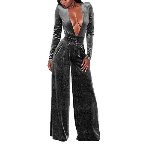 V-Neck High-Waist Velvet Jumpsuit