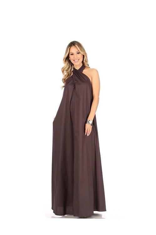 Criss Cross Halter Maxi Dress
