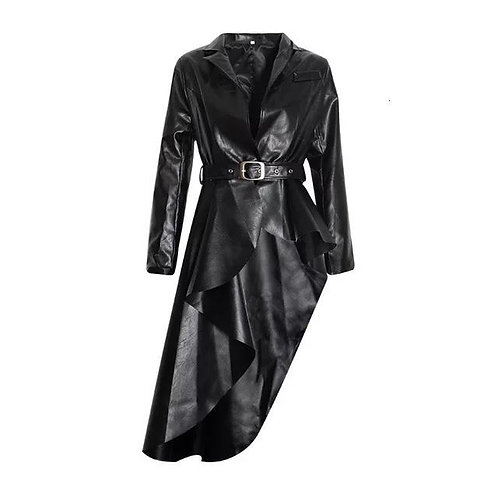 Asymmetrical Faux Leather Trench