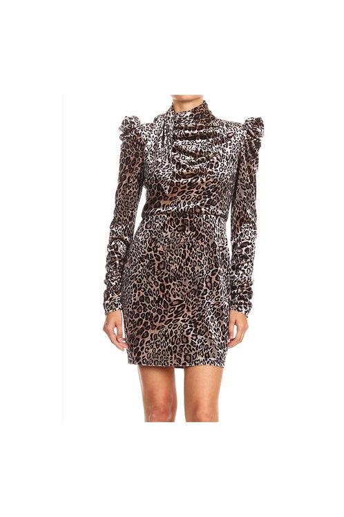 Leopard Print Puff Shoulder Mini Dress