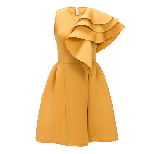 Cascade Ruffle Shoulder A-Line Dress