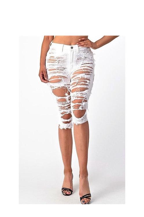 Shredded Denim Bermuda Shorts