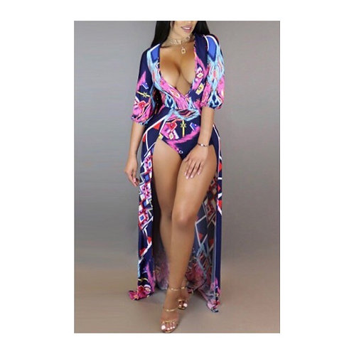 Sexy Deep V Printed One Piece w/Coverup Attached