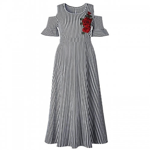 Striped Rose Embroidered Dress