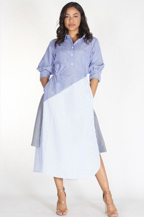 Striped Flare Button Up Dres