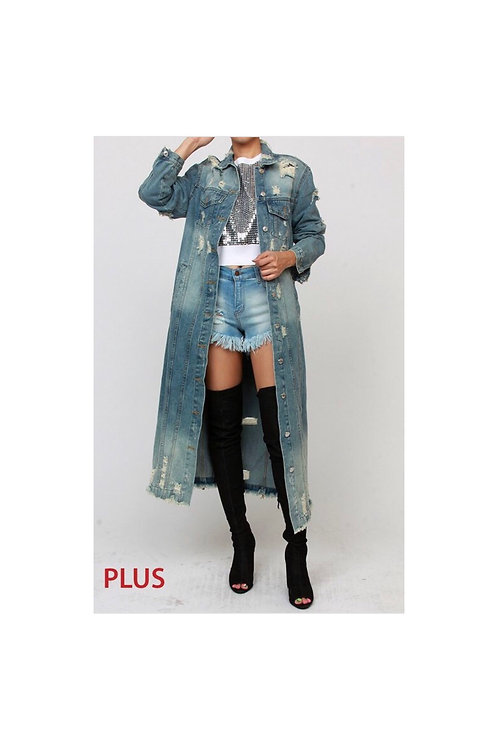 Medium Washed Distressed Denim Jacket/Dress