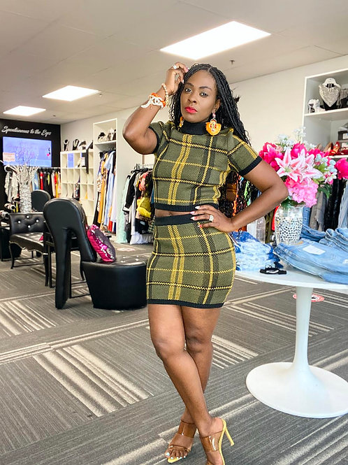 Plaid Sweater Skirt Set