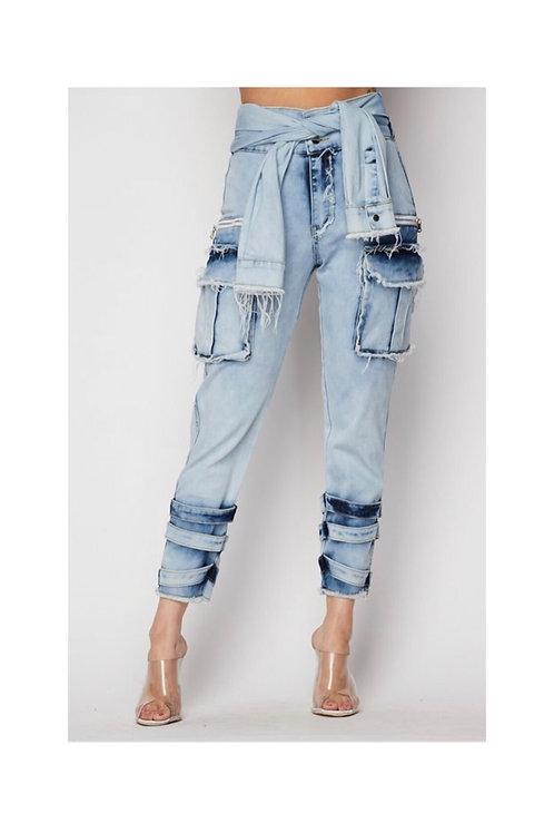 Denim Shirt Wrap Cargo Jeans
