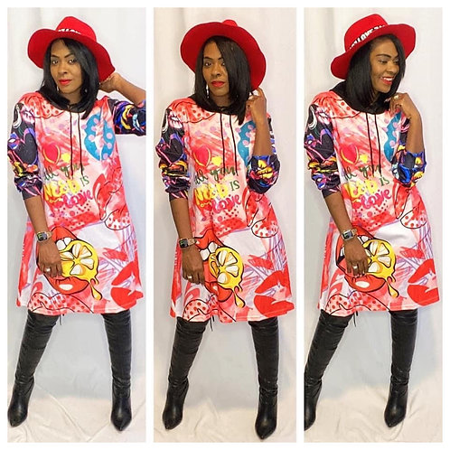 Graphic Print Hoodie Dress