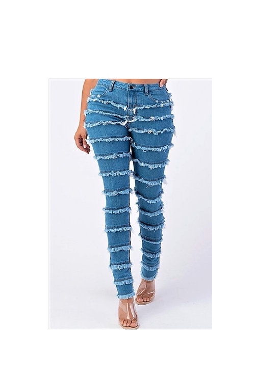 Shredded Patchwork Denim Jeans
