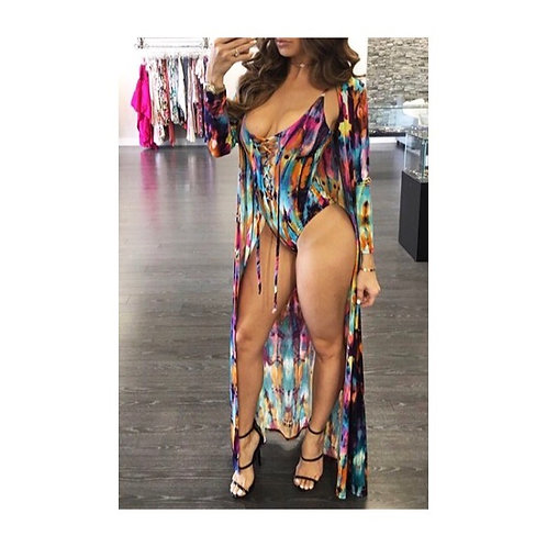 Sexy Printed One Piece w/Coverup