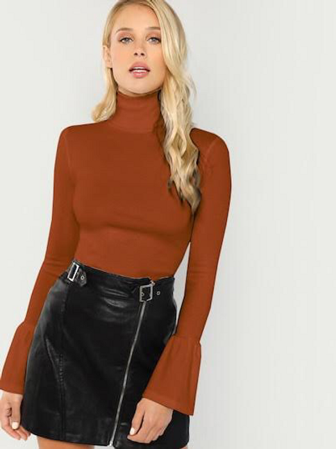 Bell Sleeve Rib Turtleneck