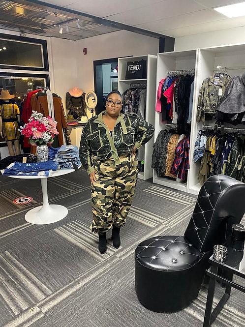 Sequins Olive Military Jacket