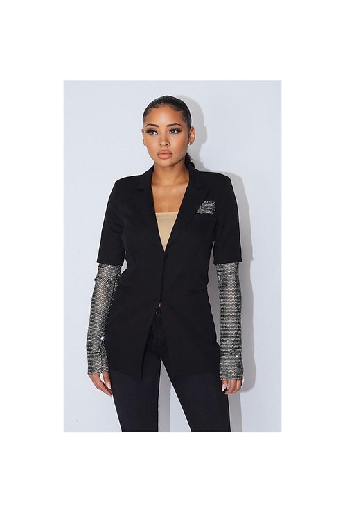 Elegant Diamond Sleeve Blazer