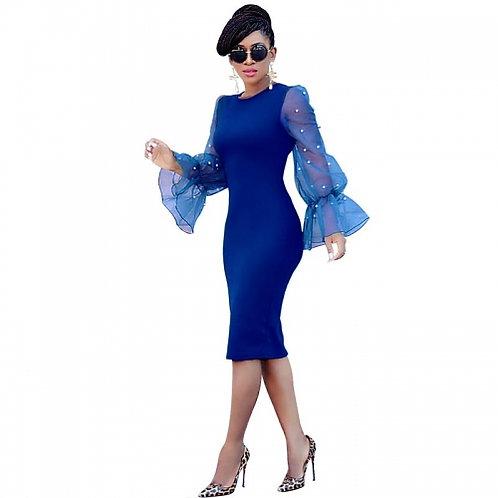 Slim Pearl Beaded Mesh Sleeve Dress