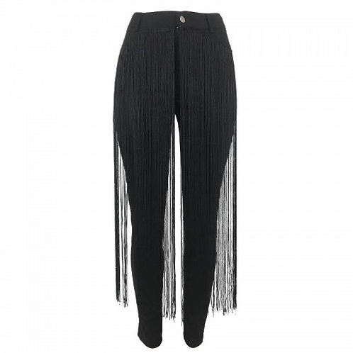 Front Fringed Pencil Pants