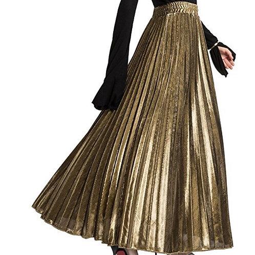 Long Metallic Maxi Skirt