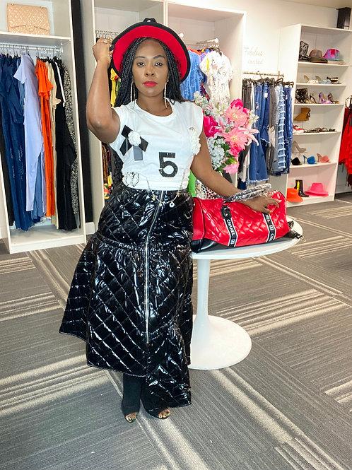 Quilted High Waist Skirt