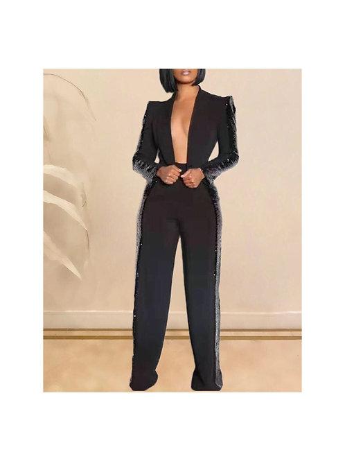 Sequins Trim Pants Set