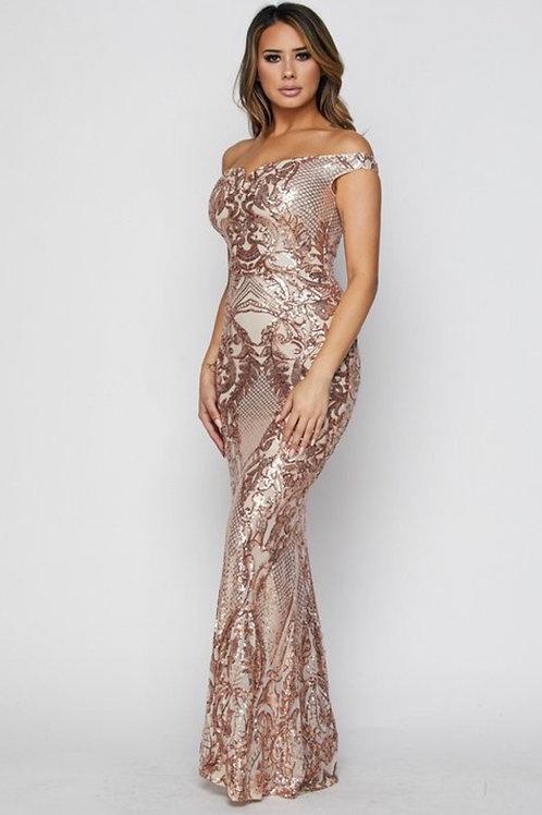 Off Shoulder Sequins Dress