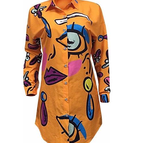 Lips & Eyes Printed Button Down Shirt/Dress