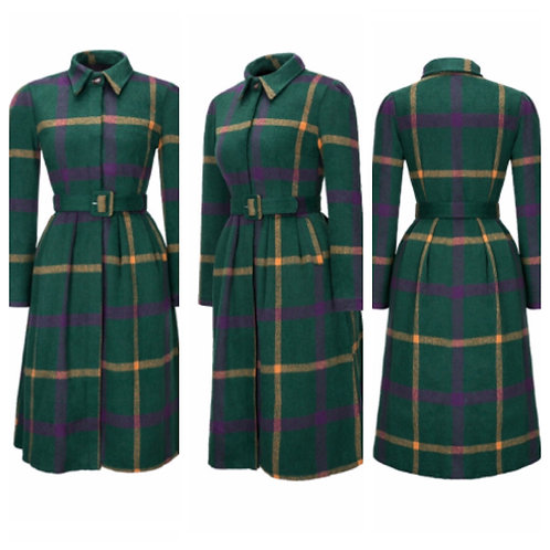 Turn Down Collar Plaid Woolen Coat
