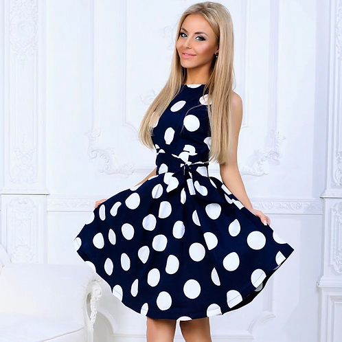 Navy Polka Dot Sleevelss Dress