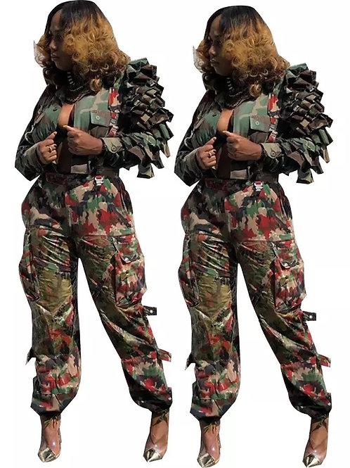 Ruffle Sleeve Camo Jacket