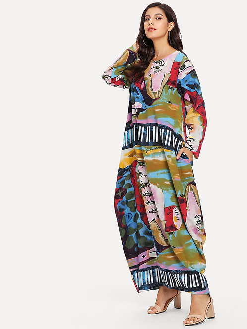 Graphic Print Maxi Dress