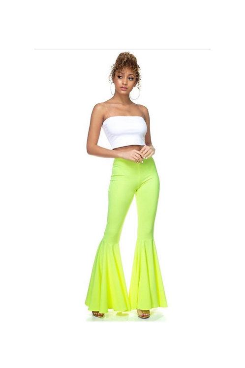 Neon Ruffled Flared Pants