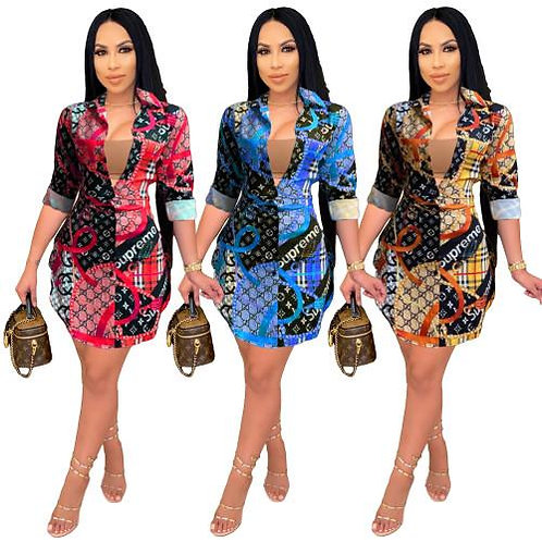 Designer Print Shirt Dress