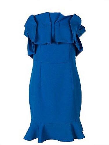 Dark Blue Frill Bodycon Dress