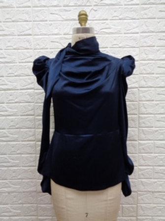 Satin Puff Shoulder Blouse