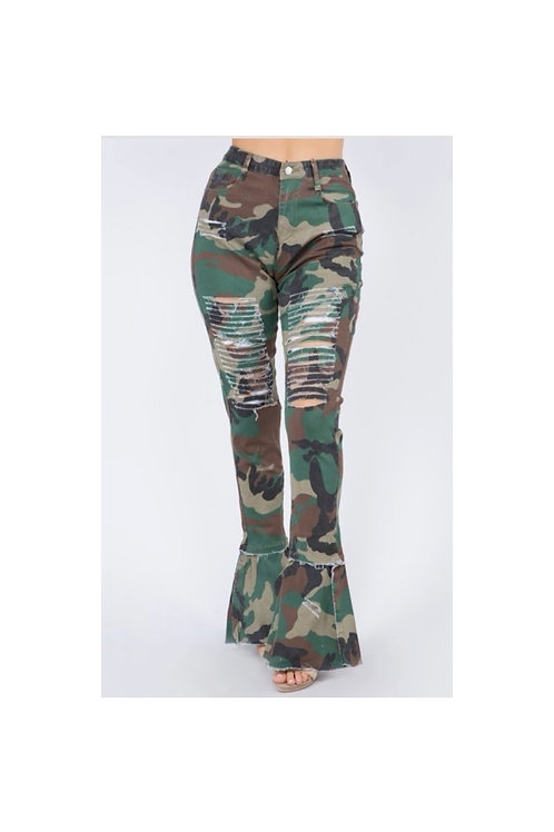 Distressed Camouflage Flare Pants
