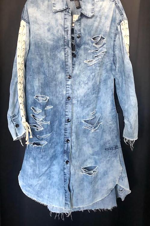 Laced Up Distressed Denim Dress
