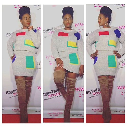Color Block Sweater Skirt Set
