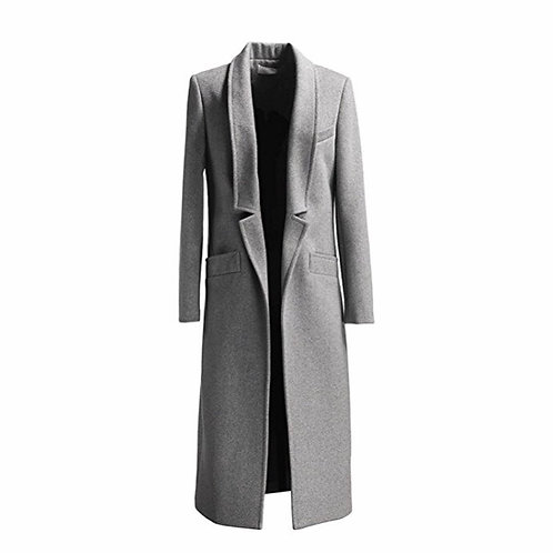 Grey Woolen Long Trench Coat