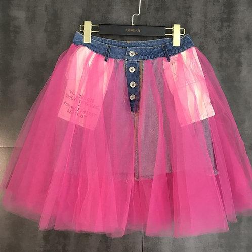 Tulle Mesh Denim Skirt