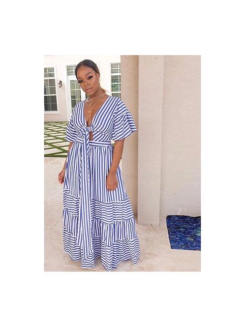 Striped Boho Fit and Flare Maxi Dress
