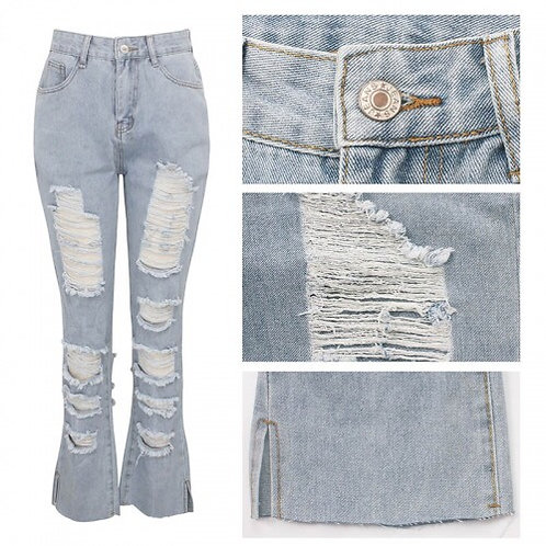 Destroyed Fitted Jeans
