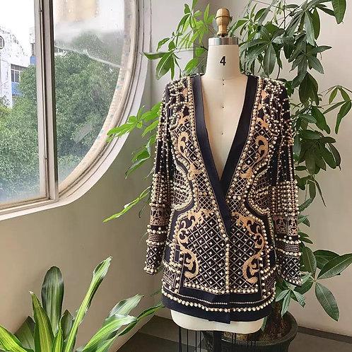 Pearl Beaded Retro Blazer/Dress
