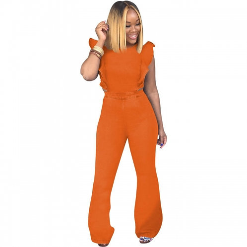 Open Lower Back Flared Jumpsuit