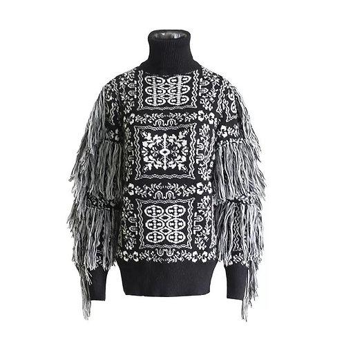 Tassel Sleeve Wool Sweater