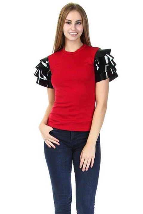 Ruffle Faux Leather Short Sleeved Casual Top