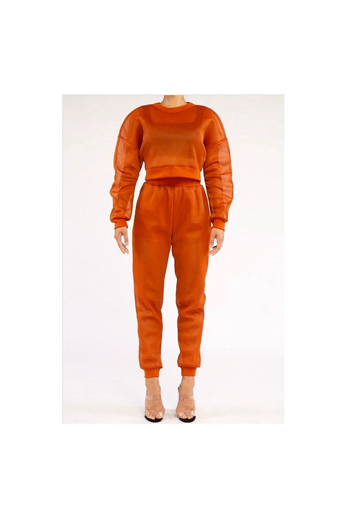 Mesh Sweatshirt Jogger Set