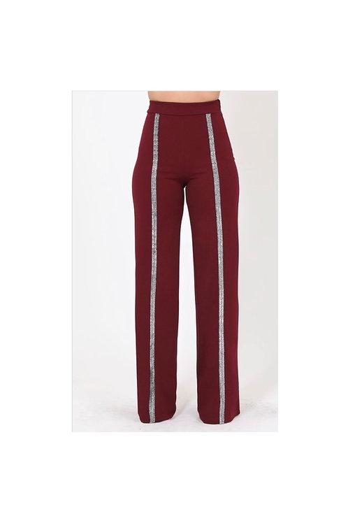 High Waist Glitter Striped Pants