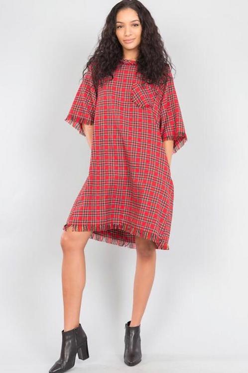 Plaid Frayed Dress