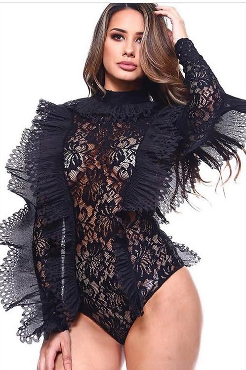 Lace Ruffle Bodysuit